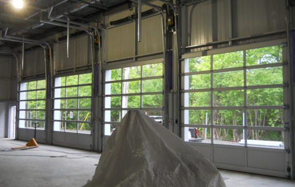 Porte de garage vitrée vue intérieur